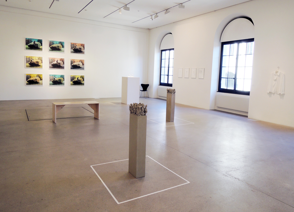Anne Sylvie Henchoz, An unexpected island-surface, Installation view, lithography on wove paper Rives 250 gm2 , 50 x 65 cm, Editions of 11, Atelier Raynald Métraux. Exhibition view Des seins à dessein, Espace Arlaud, Lausanne, 2015.