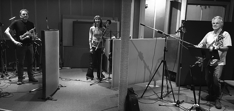 Terri-Lynn, Bill and Claire in the recording studio