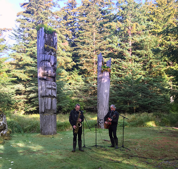 Recording live at the village of SGang Gwaay in Gwaii Haanas National Park Reserve and Haida Heritage Site, a World Heritage Site.