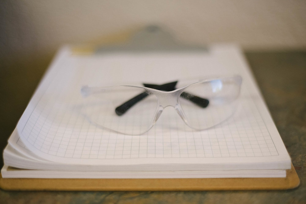 For our sheet metal fabrication services, workers wear safety glasses.