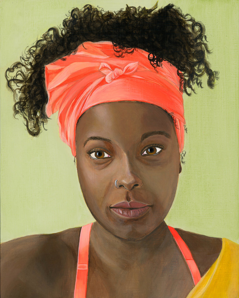 African American woman with pink head wrap - Curious Darling - J Danielle Wehunt