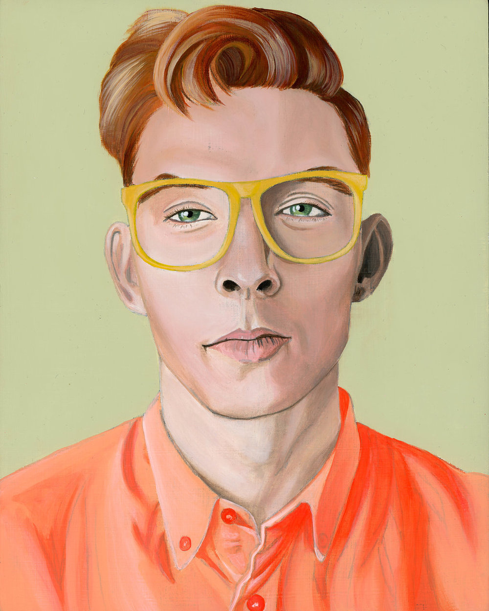 Caucasian man with red hair and yellow glasses- Curious Darling - J Danielle Wehunt