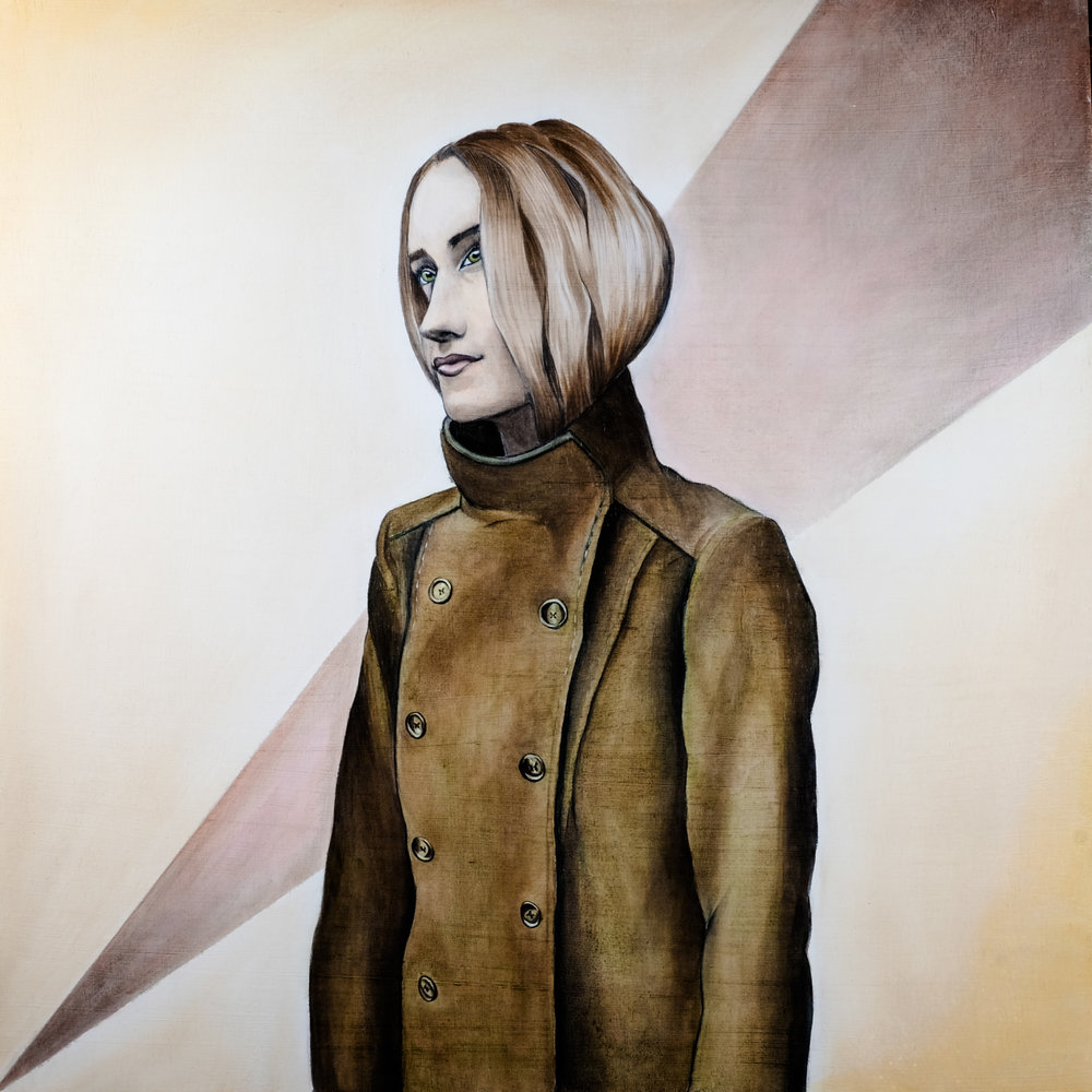 young girl in pea coat painting- Curious Darling - J Danielle Wehunt