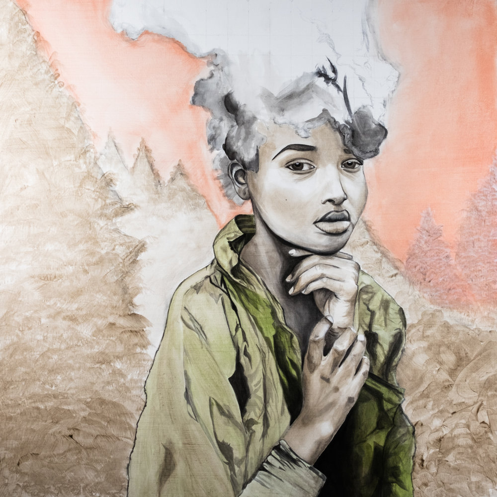 young black girl in pea coat with smoke hair painting- Curious Darling - J Danielle Wehunt