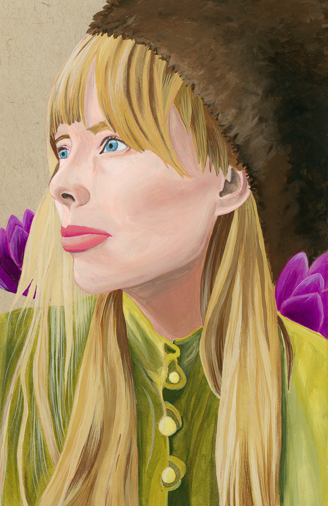 Gouache Painting of Joni Mitchell - Curious Darling - J Danielle Wehunt