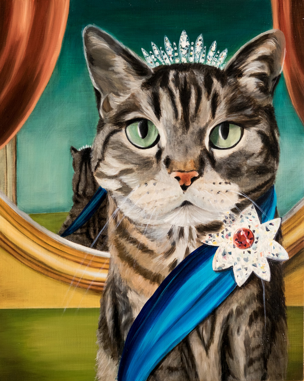Custom Cat Portrait Painting Curious Darling J Danielle Wehunt