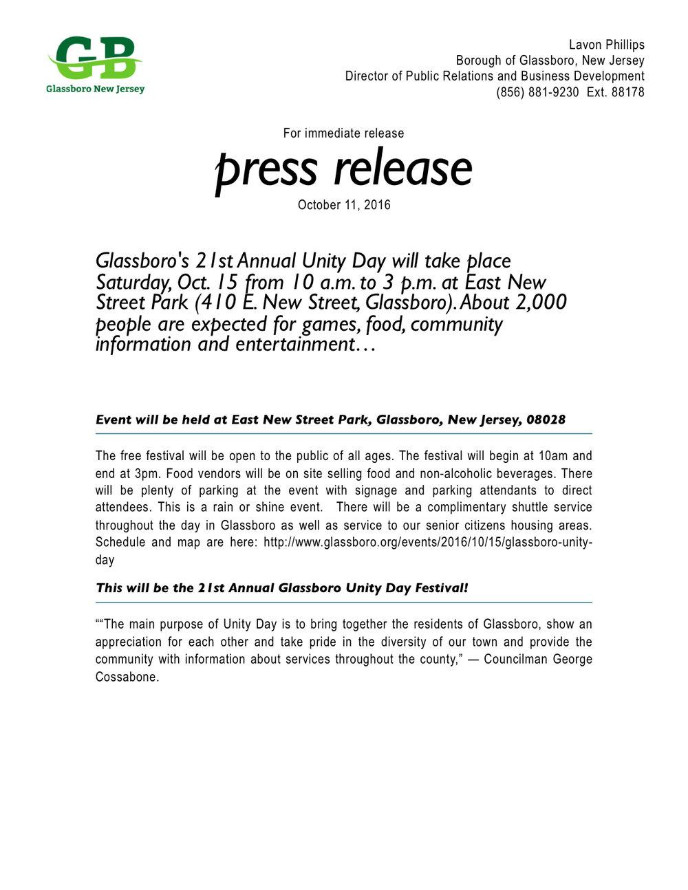Glassboro press release unity day