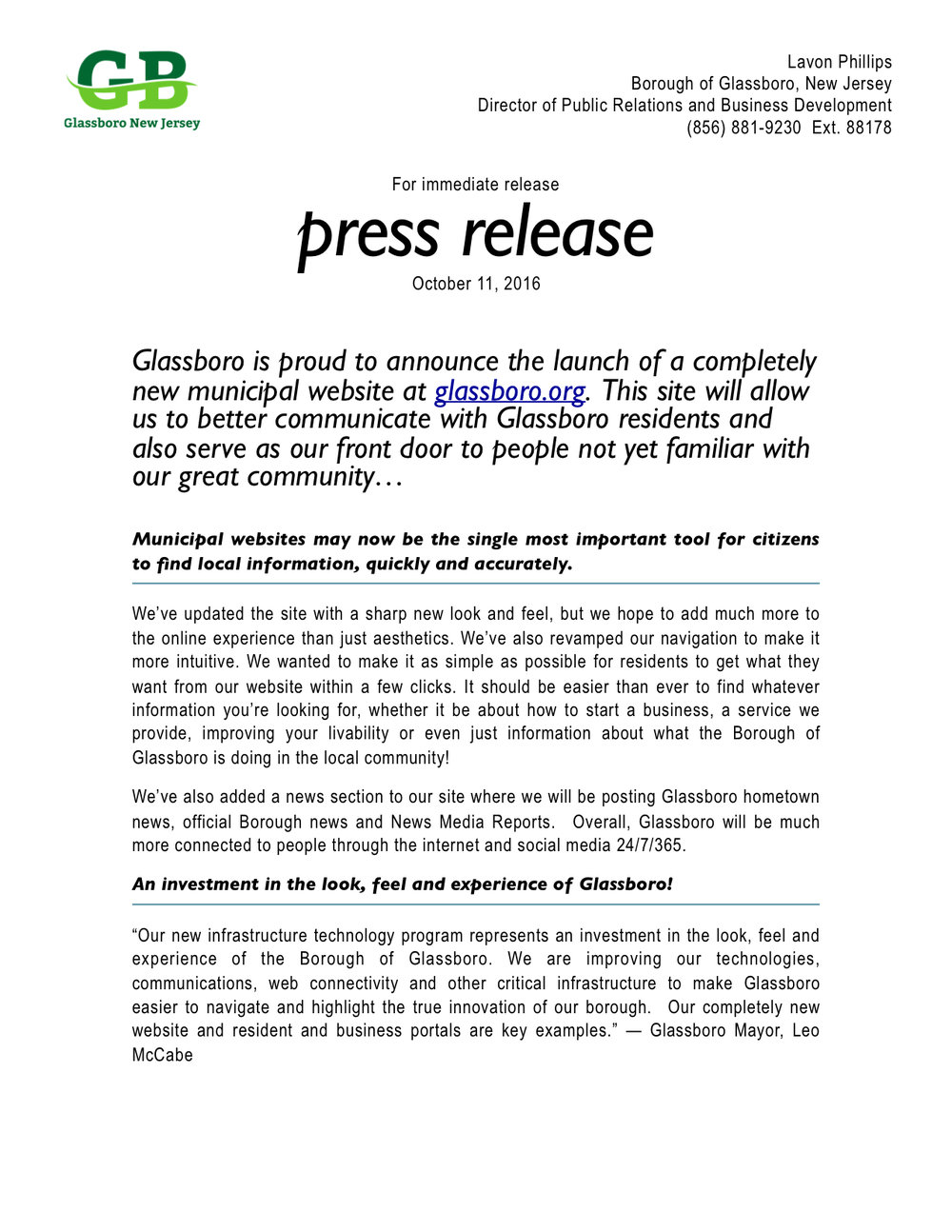 Glassboro is proud to announce the launch of a completely for New employee press release template