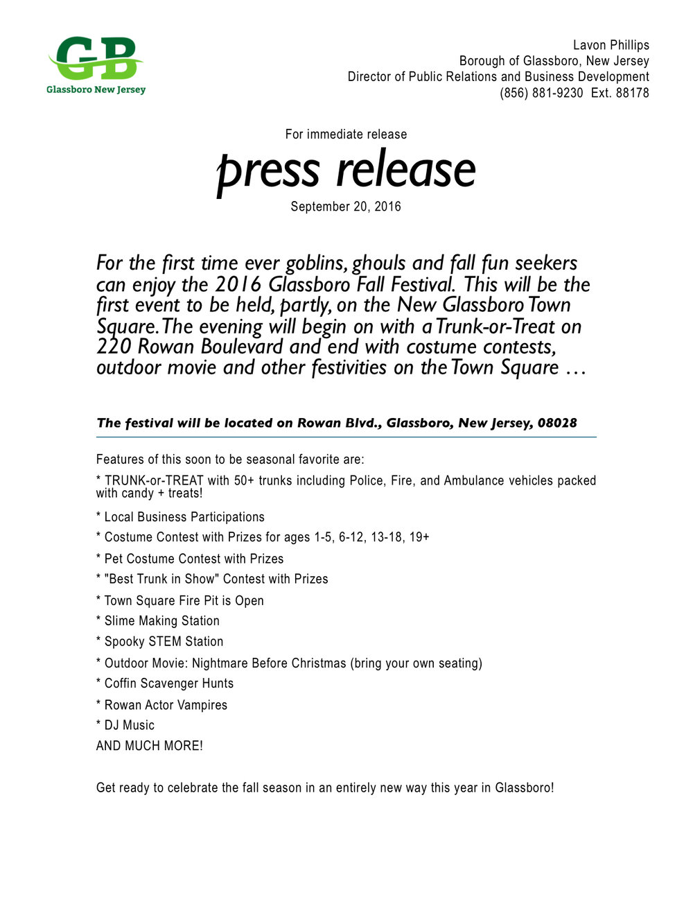 glassboro press release fall festival