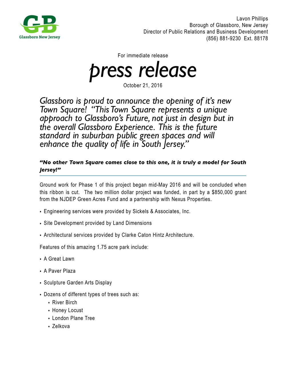 Glassboro is proud to announce the opening of it s new for Film press release template