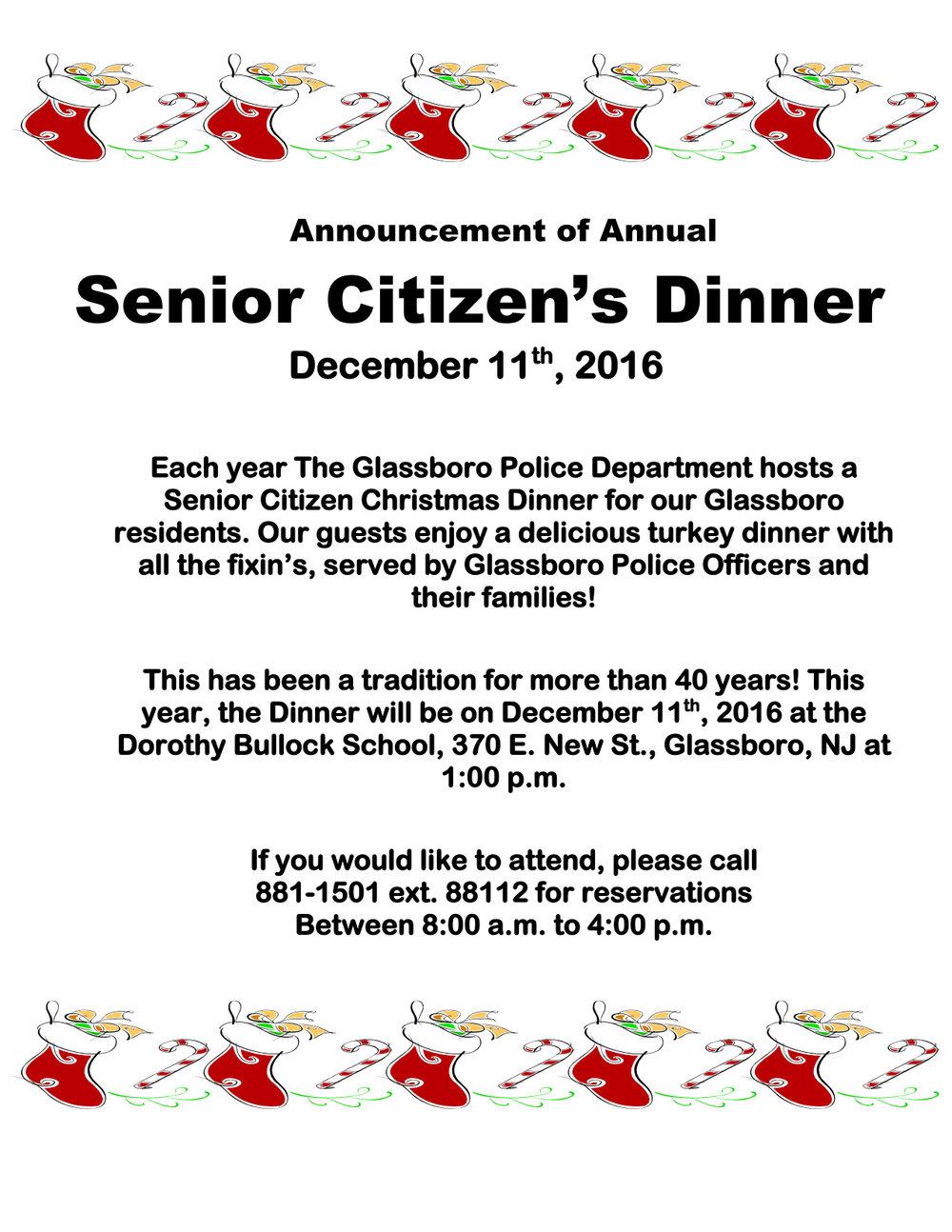 Glassboro Senior Citizen Christmas Dinner
