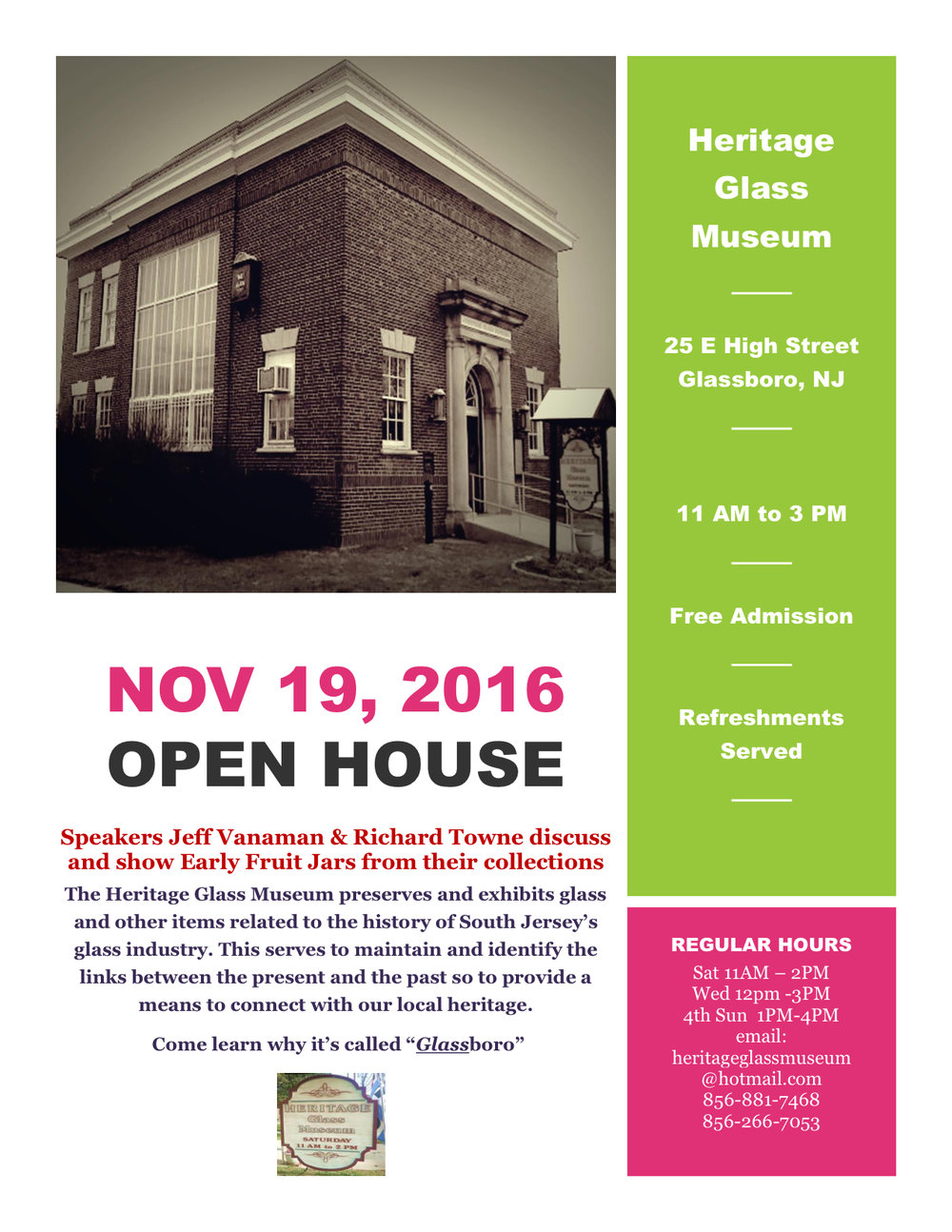 heritage glass museum open house