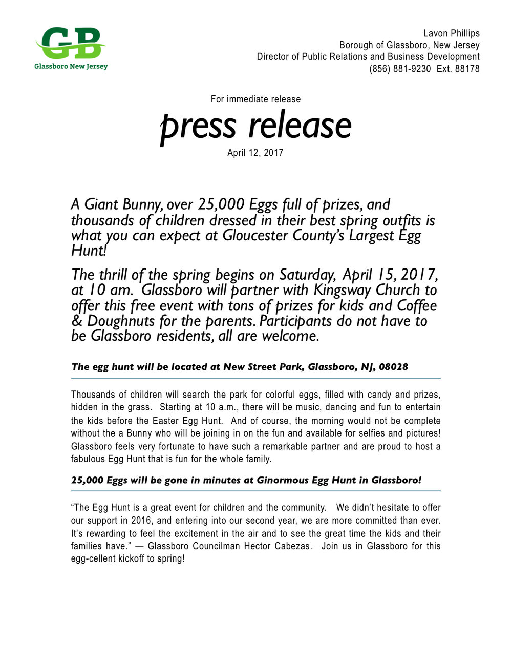 Glassboro NJ Press Release 2017 Gloucester County's Largest Egg Hunt