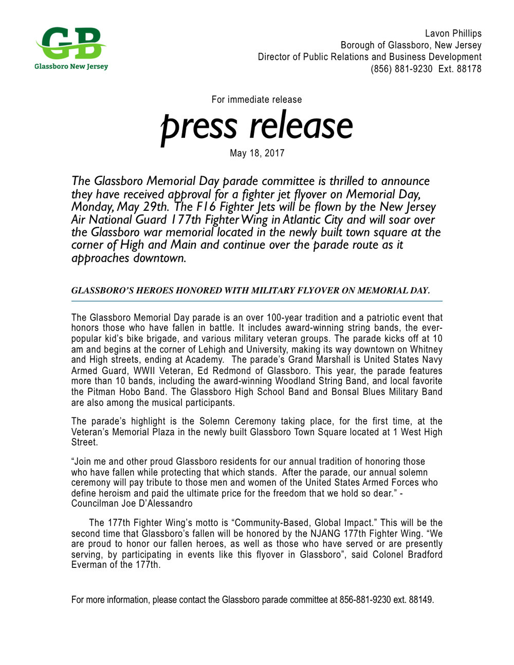 glassboro memorial day parade press release