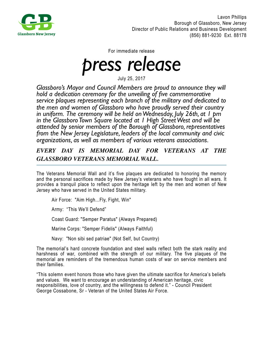 Glassboro NJ Press Release - Dedication of five branches of military crests .jpeg