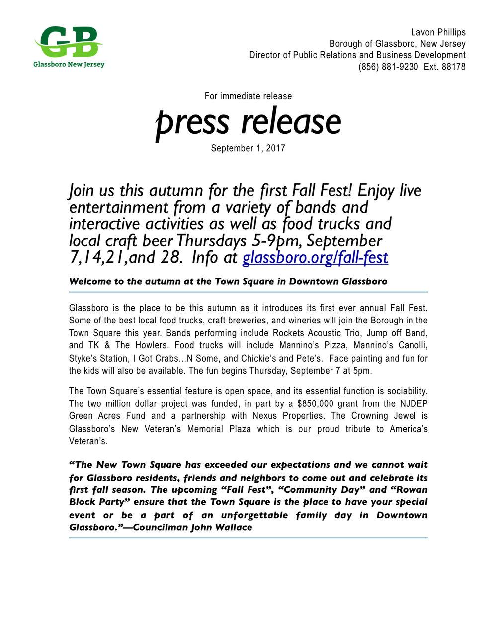 Glassboro NJ Fall Fest Press release .jpeg