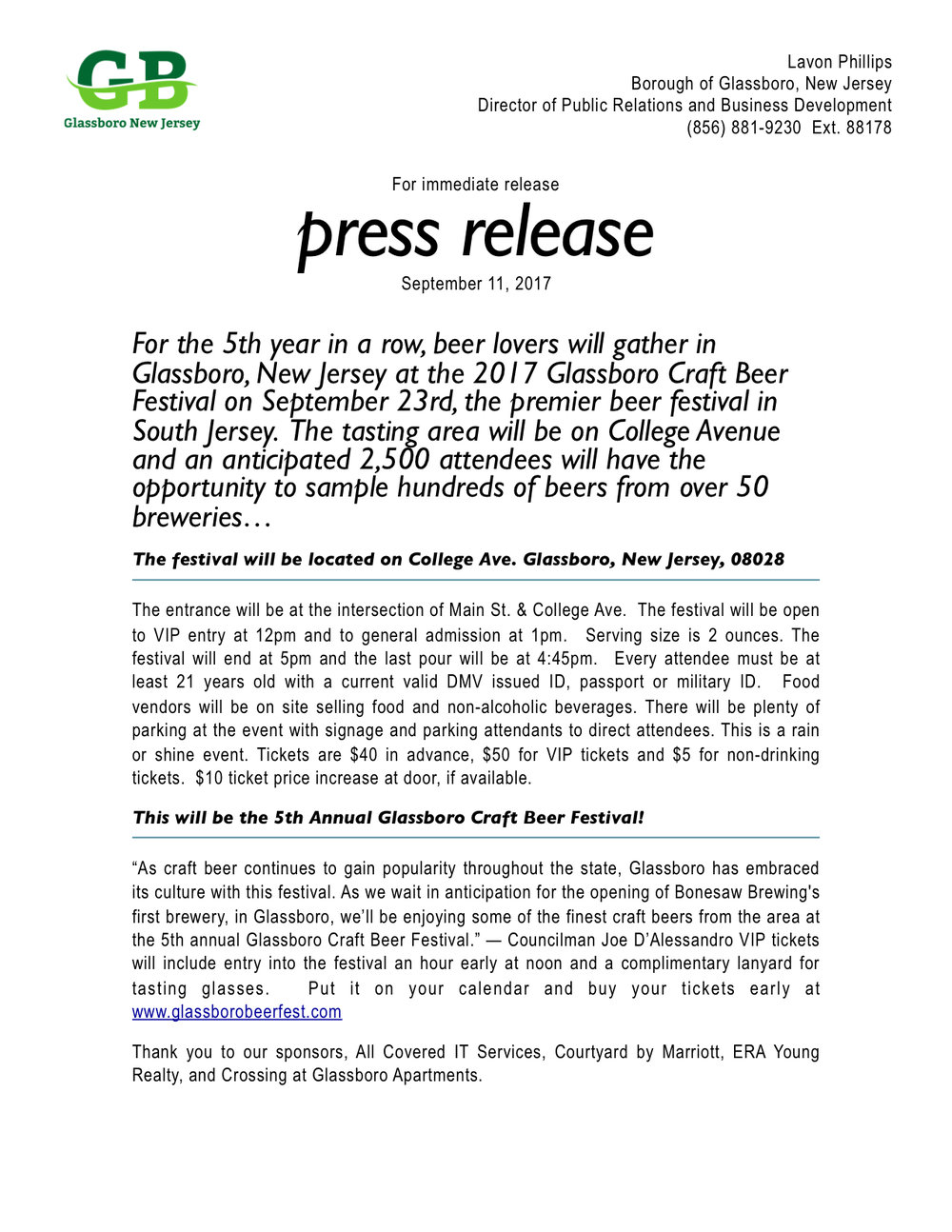 Press Release  >> Press Releases Official Website Of The Borough Of