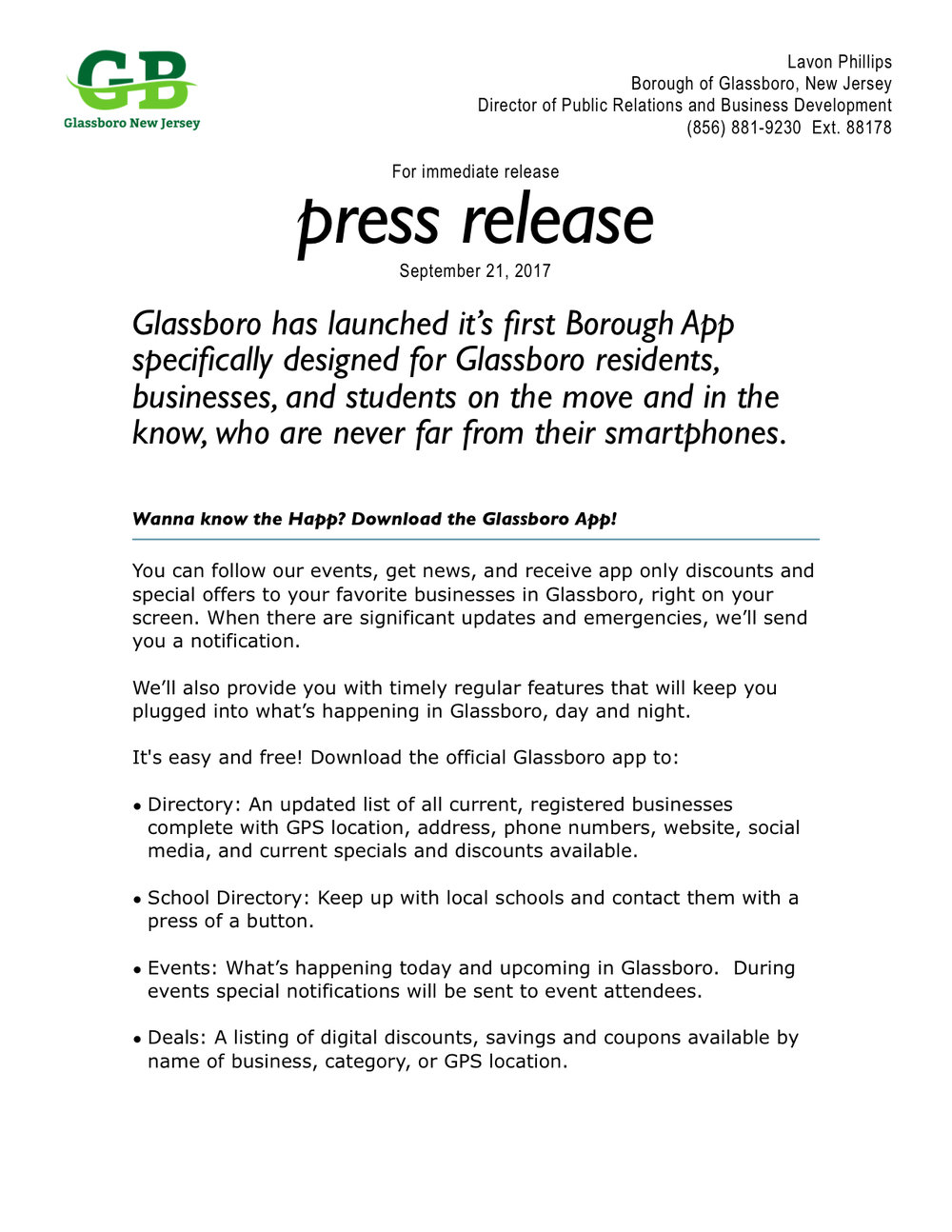 Wanna know the happ get the new glassboro app official for App press release template