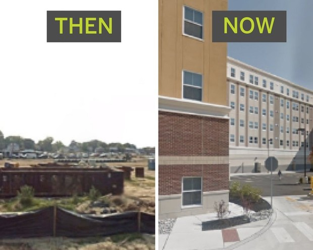 What Rowan University's campus looked like then, and now