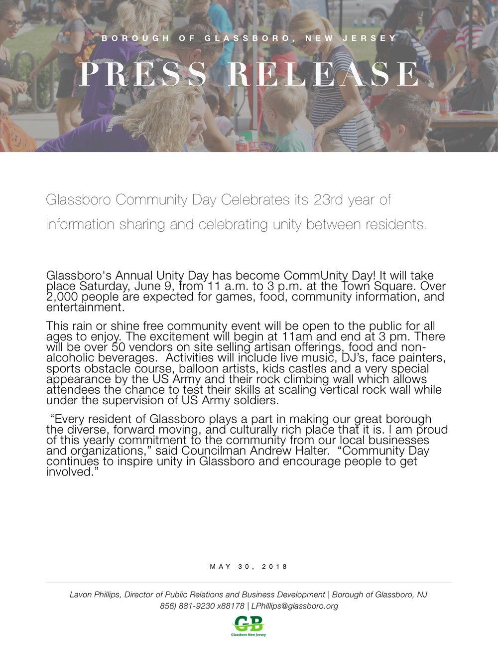 2018 Glassboro NJ Press Release COMMUNITY DAY.jpeg