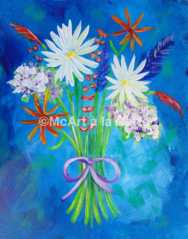 Painting in the Park! - McArt à la Carte is offering FREE painting classes.  Sign up by to take advantage of this opportunity.  The floral bouquet painting, pictured on the left, will be taught on 6/21.  The dandelion painting will be taught on 6/28, and the bear painting on 7//26.