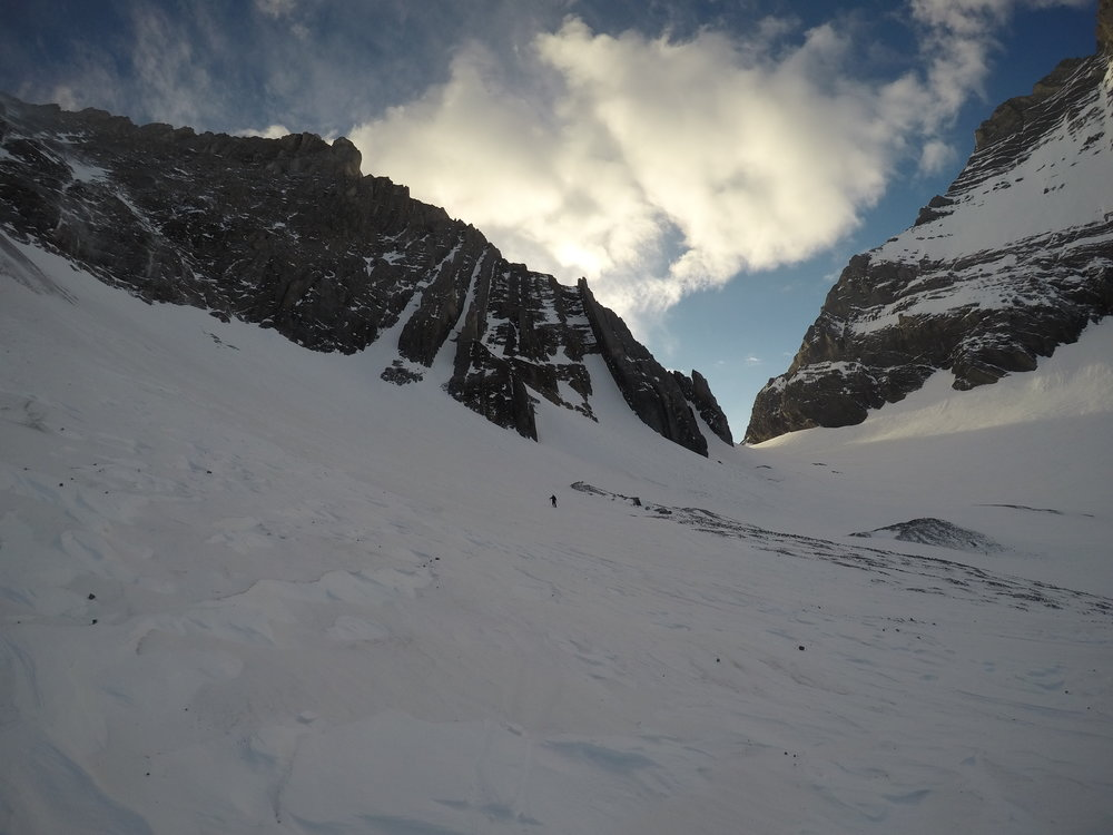"""Hole in the Wall Couloir"" 2nd from the left."