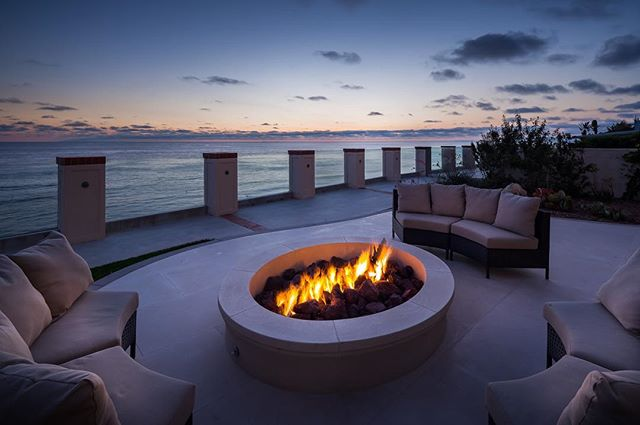 """The best feeling as a photographer is that moment of, """"there's my shot!"""" • • #sandiegophotographer #firepit #oceanview #oceanfront #realestatephotography #sunsetshots #sandiegosunset #summerlounge #architecturalphotography"""