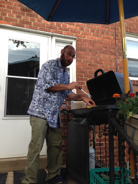 Here I am saving a few bucks by grilling dinner at the neighbors while they are away on vacation.