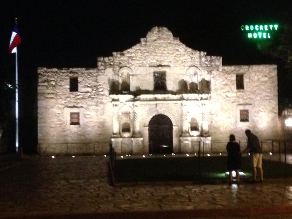 All our pictures of the Alamo during the day came out crummy. Notice the Crockett hotel in the background.