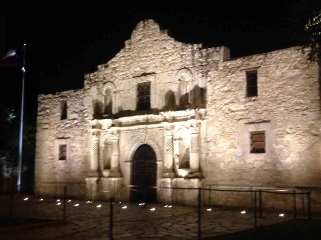 The church at night - this church was part of the Alamo compound.