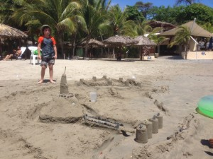 One day we spent a lot of time building this sand castle compound. It wasn't a lot of exercise, but it was a lot of fun.
