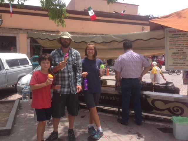 Vanamos family enjoying the famous hand-churned ice cream in Dolores de Hidalgo.