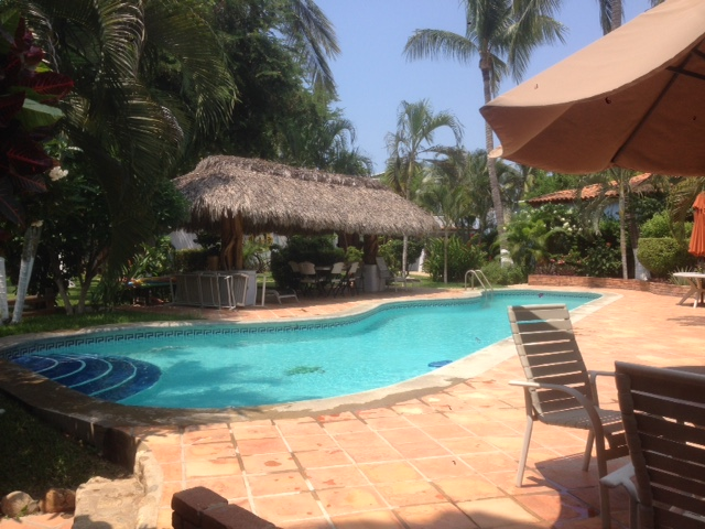 The pool area at the Casamar Suites in Punta Zicatela, in the south end of Puerto Escondido.