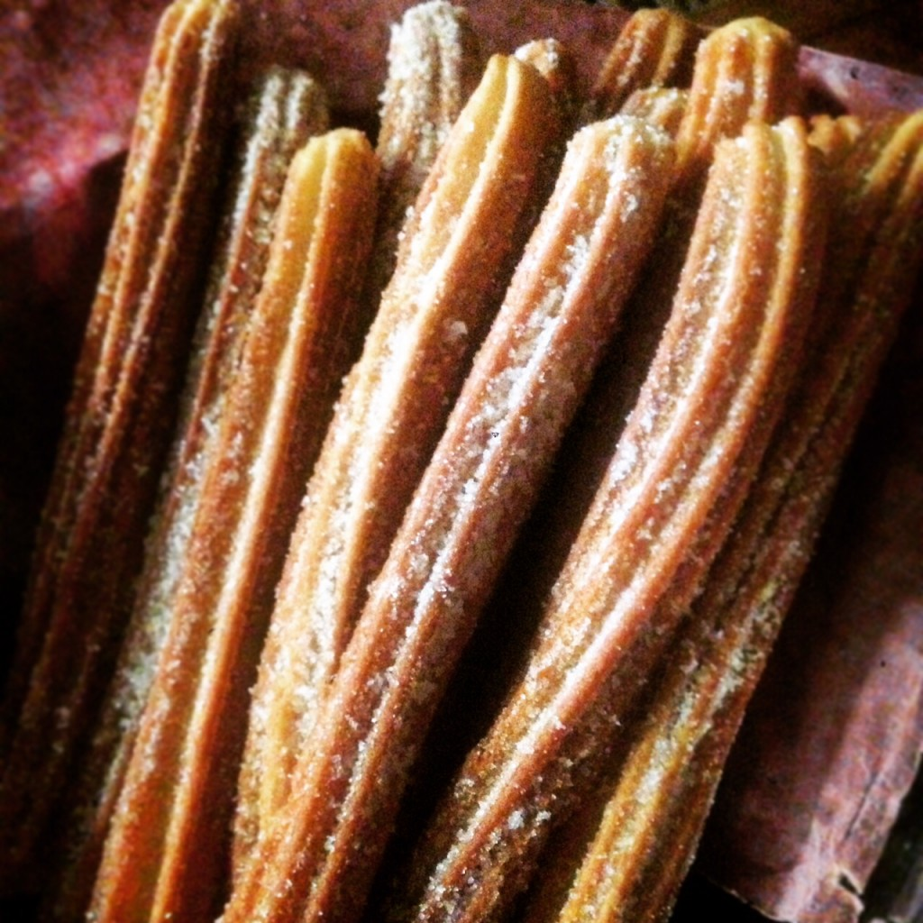 Our churros, looking sweet, hot, and tasty.