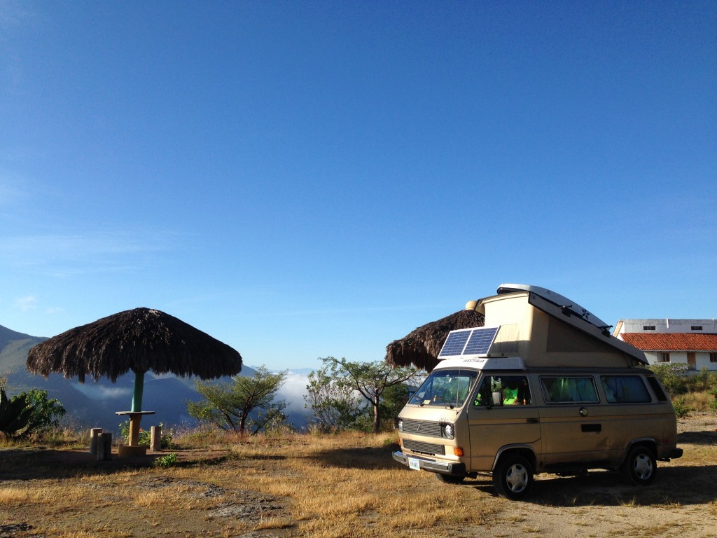 The blue sky visible from our camp at Hierve el Agua