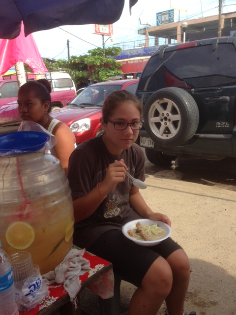 Coconut enjoying some tortilla soup at a roadside stand on the way to Puerto Escondido. We've found the roadside food stands to be cheap, and delicious.