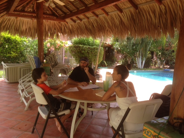 J and I have been taking Spanish lessons each afternoon next to the pool of our hotel. Each one and one-half hour lesson costs about $10.