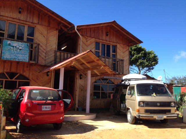 Wesley parked outside the Cabanas in San Jose del Pacifico. Yes, we take pictures of our van.
