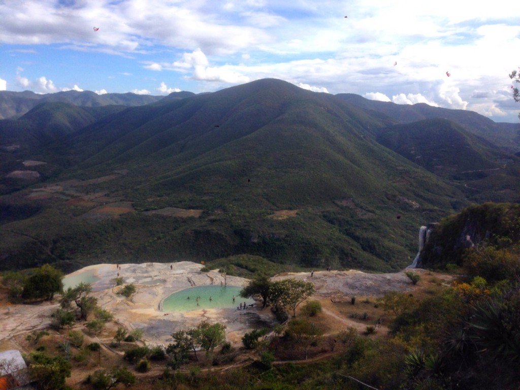 Looking down on the bathing pools and valley at Hierve el Agua, Mexico