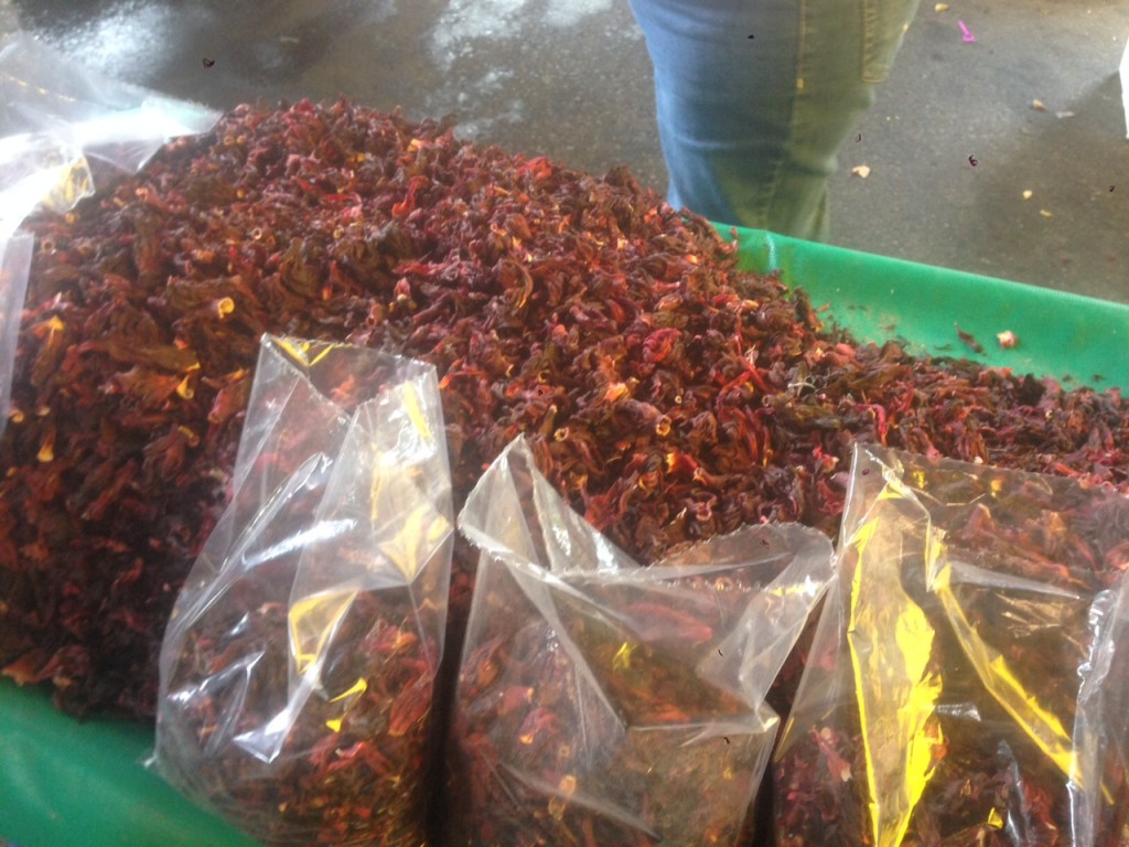 Bags of the dried hibiscus flower which are boiled to make tea and then cooled and served as jaimica juice.