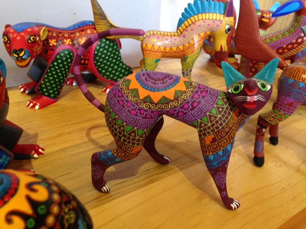 An intricately decorated alijibre, a fantstical Oaxacan folk-art animal.