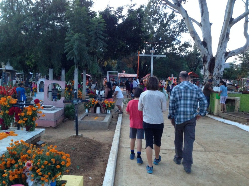 The cemetery at Santa Cruz Xoxocotlán, a village outside of Oaxaca City, is a popular destination for tourists to visit for Day of the Dead.