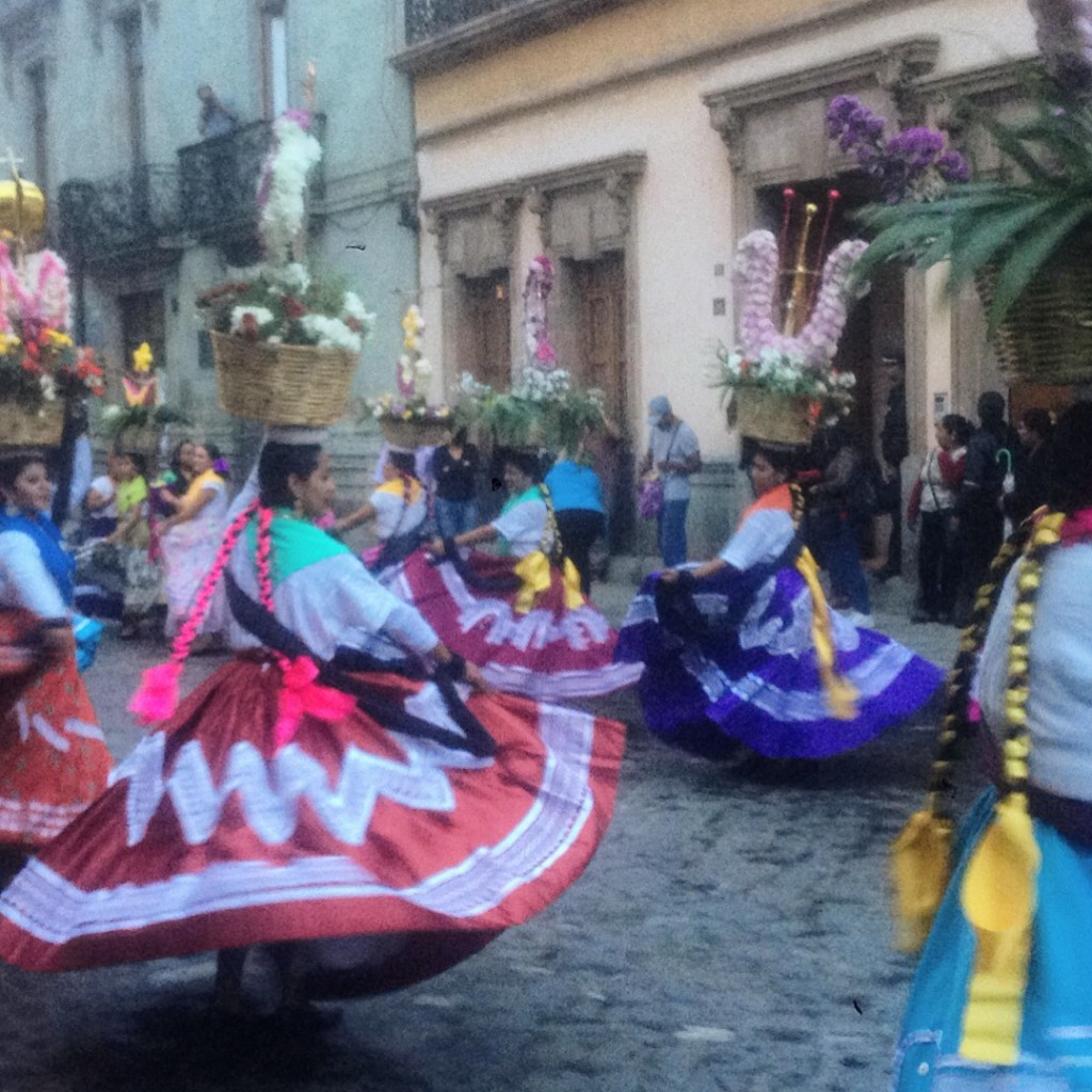 There's always something going on in the Zocalo in Oaxaca - like teacher protests and women dancing with baskets balanced on their heads!