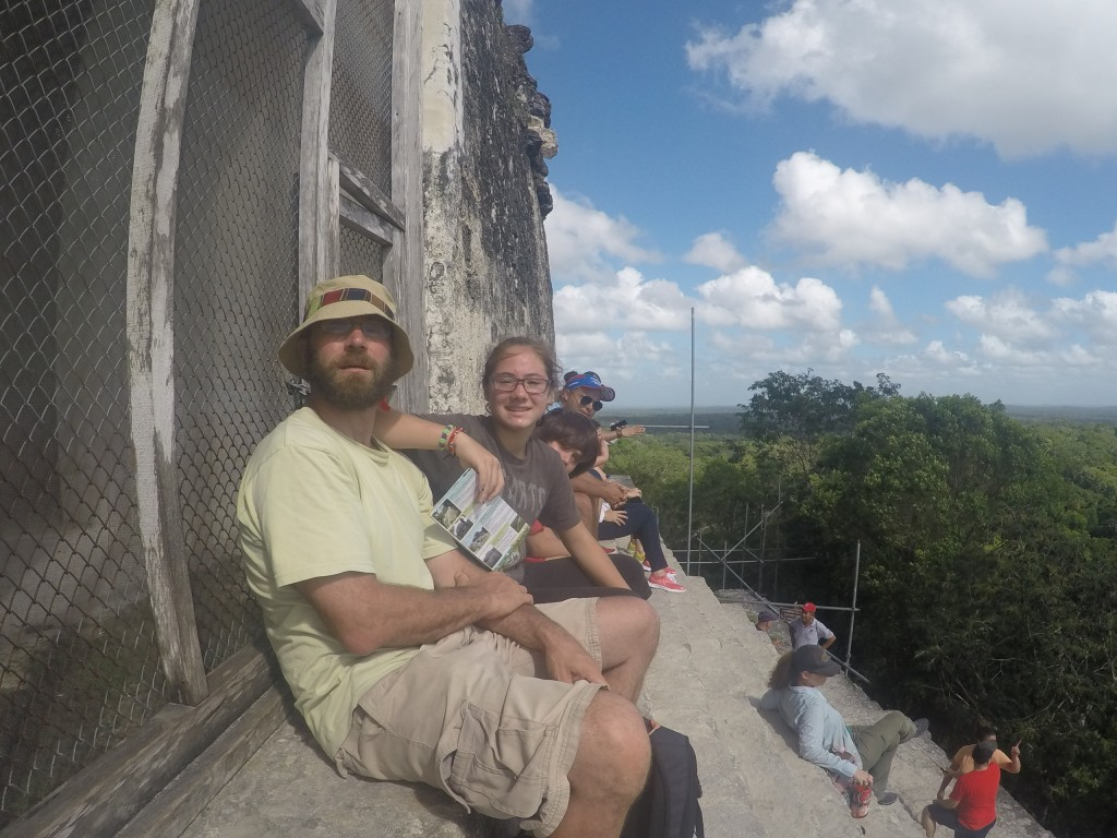 Eventually, we went back and got Coconut and J and brought them back to Temple IV for some awesome views over the jungle canopy. Most of the temples tops can be seen poking through the trees.