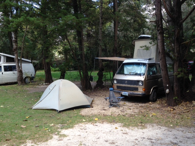 Our campsite at the Rancho San Nicolas early in the week that we arrived.