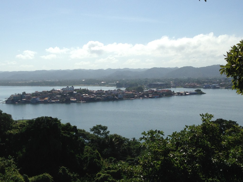 The island of Flores as seen from a mirador in the jungle around the town of San Miguel. San Miguel is on a peninsula across the lake from Flores.