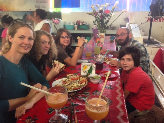 Enjoying a Mexican lunch of tlayudas and fresh squeezed juice on our way to Cuajimoloyas with Megan and Zoe.
