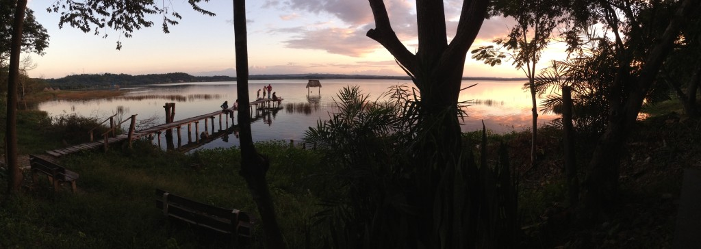 The view over the clear waters of Lago de Peten Itza from the Mon Ami restaurant/hotel, where we spent most of our time when in El Remate.