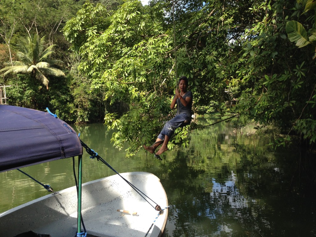 The rope swing at our jungle lodge hotel saw a lot of action.