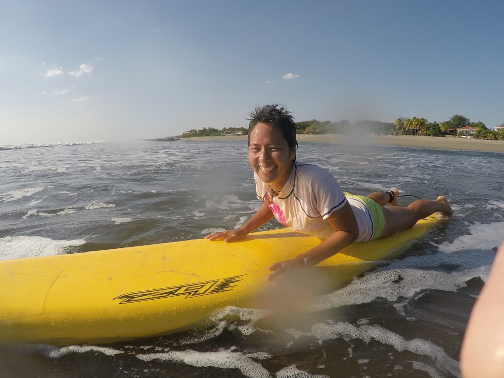 R looking for some gnarly waves in the warm Nicaraguan waters off of Pochomil